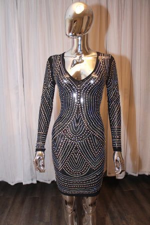 Dripping Bling Dress Long Sleeve