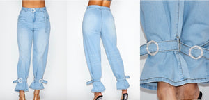 Diamond Brooch Denim Pants