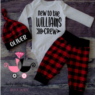 Newborn Baby Buffalo Plaid New to the Crew 3 Piece Set