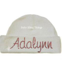 Personalized Rhinestone Crystal Baby Hat Cap