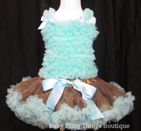 Aqua & Brown Chiffon Ruffle Pettiskirt Infant Toddler Set