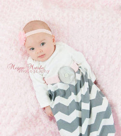 Gray Chevron Personalized Rhinestone Flower Baby Gown