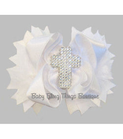 Rhinestone Bling Baptism Cross White Satin Bow Headband