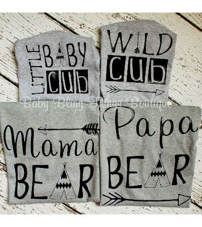 Bear Cub Family Shirt Sets
