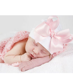 Sweet Dreams Big Satin Bow Baby Hat