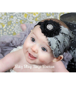 Black & White Bling Baby Feather Headband