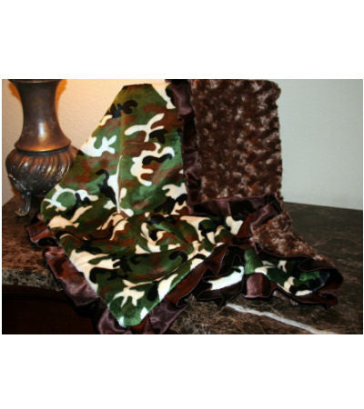 Camouflage Minky and Satin Baby Blanket