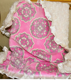 Harper Minky and Satin Pink Baby Blanket