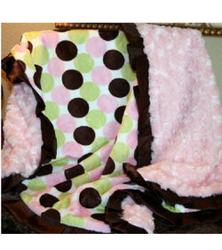 Spotty Pink Minky and Satin Baby Blanket