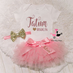 Pink & Gold Personalized 3 Piece Bloomer Set