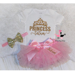 Personalized Princess ruffle bloomer pink set