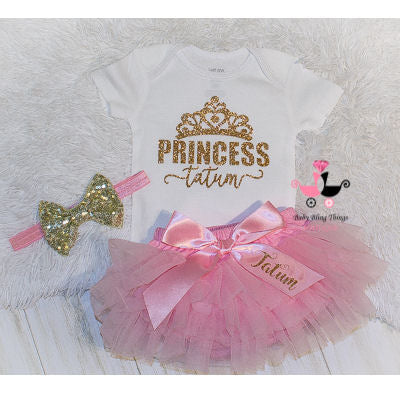 Pink & Gold Personalized Princess 3 Piece Bloomer Set