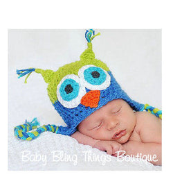 Blue Green Infant Owl Crochet Knit Hat
