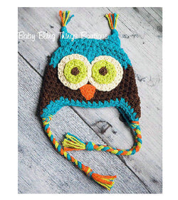 Blue Owl Crochet baby Toddler Knit Hat