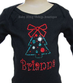 Christmas Tree Personalized Rhinestone Bling Shirt