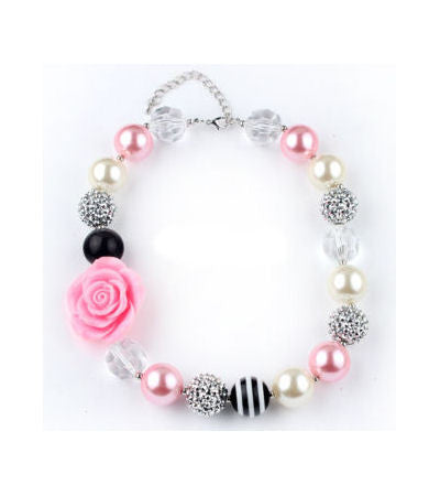 Paris Pink & Black Girls Kids Bubblegum Necklace