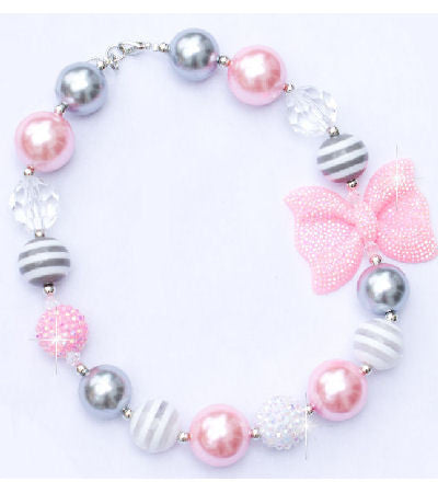 Pink & Gray Chunky Kids Girls Bubblegum Bow Necklace