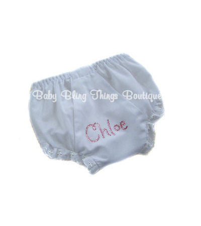 Personalized Rhinestone Baby Bloomer Diaper Cover