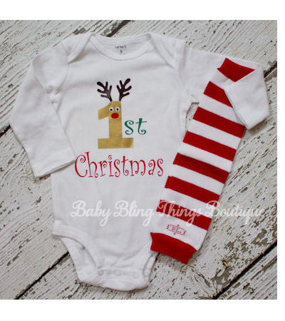 My First Christmas newborn baby boy Bodysuit Shirt
