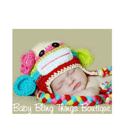Colorful Sock Monkey Crochet Baby Girl Hat