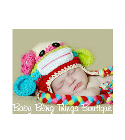 Colorful Sock Monkey Crochet Baby Hat Baby Bling Things Boutique