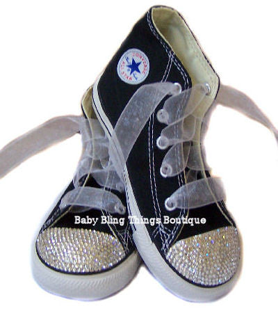 f0667bc7af92 Black Diamond Swarovski Crystal Bling Converse Shoes – Baby Bling Things  Boutique