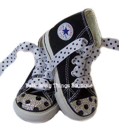 Black Polka Dot Swarovski Crystal Converse Shoes