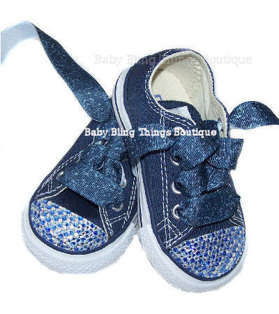 Blue Jean Swarovski Crystal Bling Converse Shoes – Baby Bling Things  Boutique 3ddc78ad3