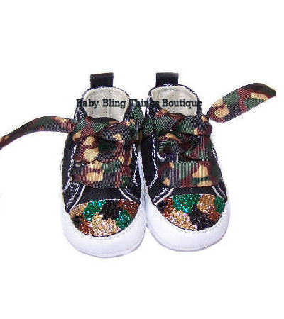 Camouflage Swarovski Crystal Bling Converse Shoes