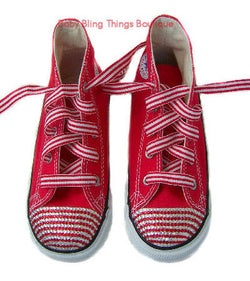Candy Cane Swarovski Crystal Red Converse Shoes