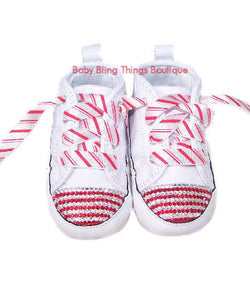 Candy Cane Swarovski Crystal Converse Crib Shoes