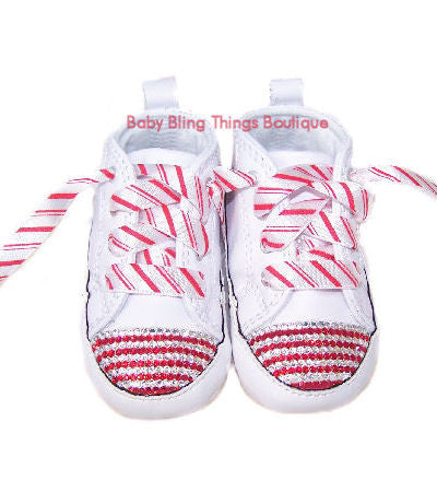 65c1df9ef34a Candy Cane Swarovski Crystal Converse Crib Shoes – Baby Bling Things  Boutique