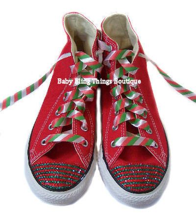 f10b7a81271a Christmas Stripe Swarovski Crystal Bling Converse – Baby Bling Things  Boutique