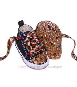 Leopard Print Soles and Toes Swarovski Crystal Converse Shoes