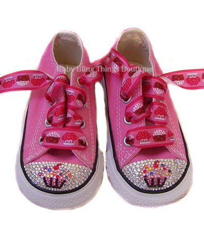 d7805c9ecfda Cupcake Swarovski Crystal Bling Converse Shoes – Baby Bling Things Boutique