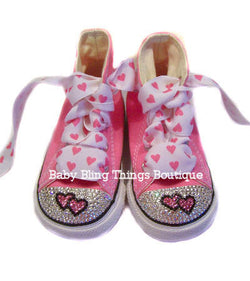 Double Heart Swarovski Crystal Pink Converse Shoes