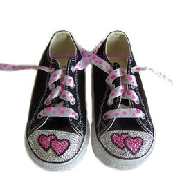 Double Heart Swarovski Crystal Black Converse Shoes