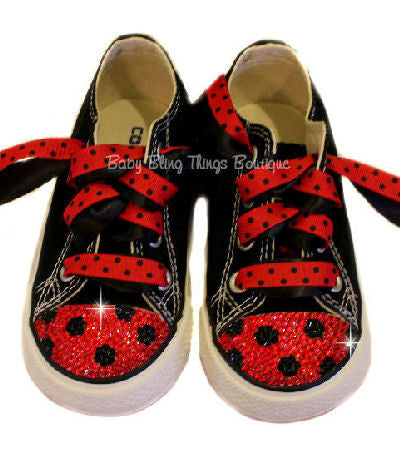Ladybug Swarovski Crystal Bling Converse Shoes