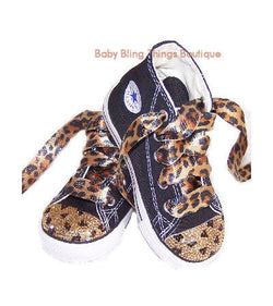 Leopard Swarovski Crystal Bling Converse Shoes