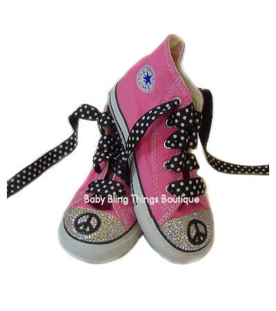 Peace Swarovski Crystal Bling Converse Shoes