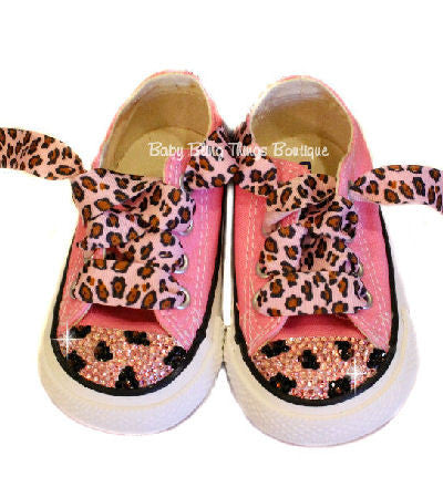 Pink Leopard Swarovski Converse Bling Shoes
