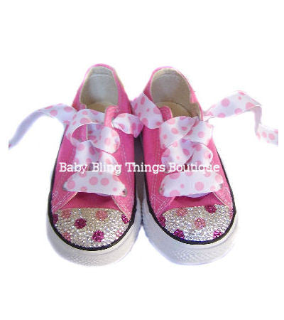 0980b74b979fd4 Pink Polka Dot Swarovski Crystal Converse Shoes – Baby Bling Things Boutique