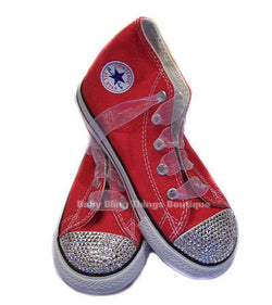Clear Swarovski Crystal Toes on Red Converse