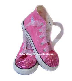 Hot Pink Diamond Swarovski Crystal Converse Shoes
