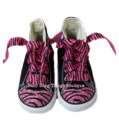 Pink and Black Zebra Print Swarovski Crystal Converse Shoes
