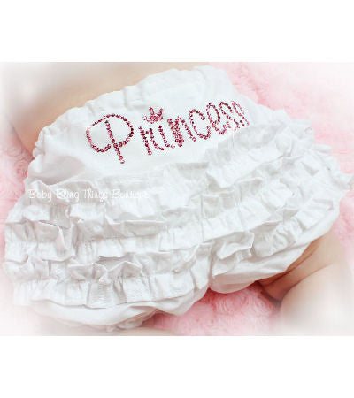 Personalized Rhinestone Baby Ruffle White Bloomer