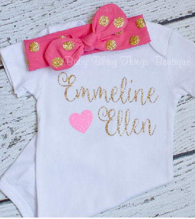 Personalize Me Sparkle Glitter Baby Girl Bodysuit