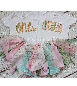 First Birthday Gold Glitter Fabric Tutu Set