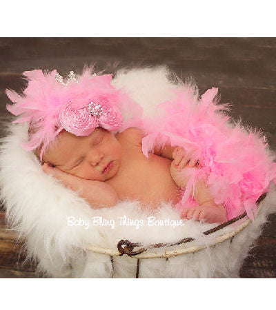Feather Diaper Cover Headband Newborn Set in Pink or White