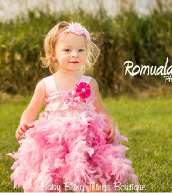 Pink Infant Toddler Feather Dress